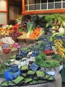 Fruit & veg stall at Borough Market, London UK
